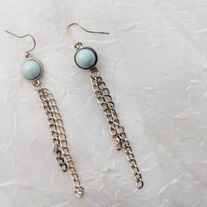Jewelry - Turquoise and Gold Chain Earrings